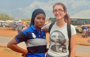 Raychel Schwartz '15 in Tanzania with her research assistant, Yvonne. Raychel helped to manage and implement phase 1 of the mobile phone RCT.