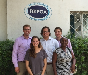 At the REPOA office in Dar es Salaam in June 2015 with Dr. Flora Myamba (front right), Co-PI on the Mobile Technology and Women's Empowerment project, along with Catie Crowley '17 (front left), Kyler Morris (BYU '15, center), and Matthew Bondy '18 (back right).